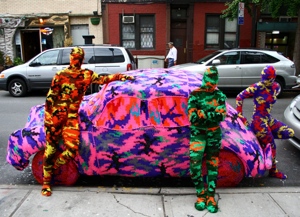 Olek Yarn Bomb with Car and People
