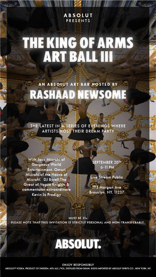 Absolut presents King of Arms Art Ball III by Rashaad Newsome – Brooklyn, New York