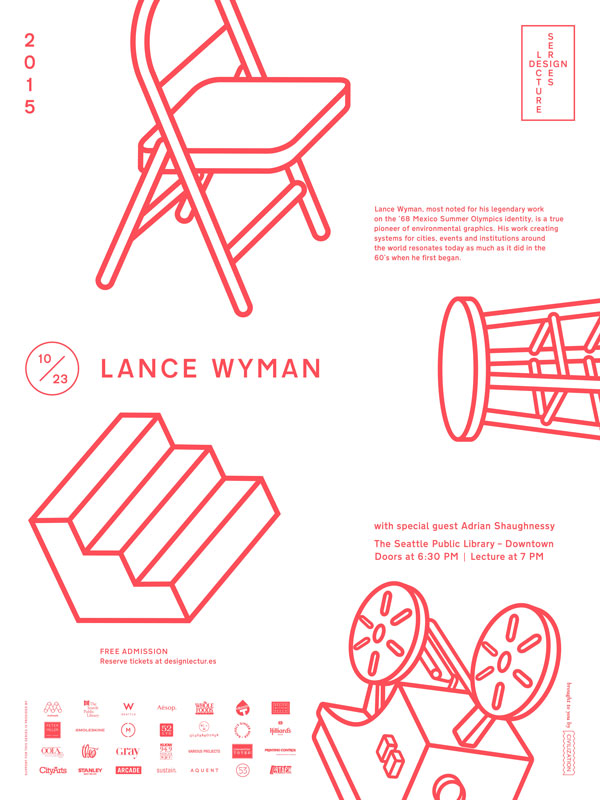 Design Lecture Series: Lance Wyman with special guest Adrian Shaughnessy – Seattle, USA