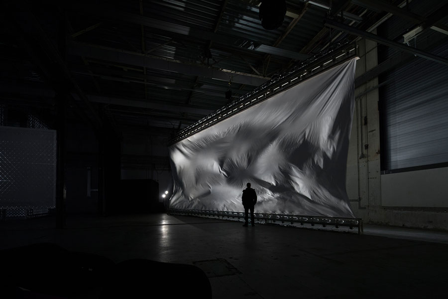 Zimoun: 64 ventilators, 98m² polyethyleen foil 0.08mm at STRP Biennial – Bern, Switzerland